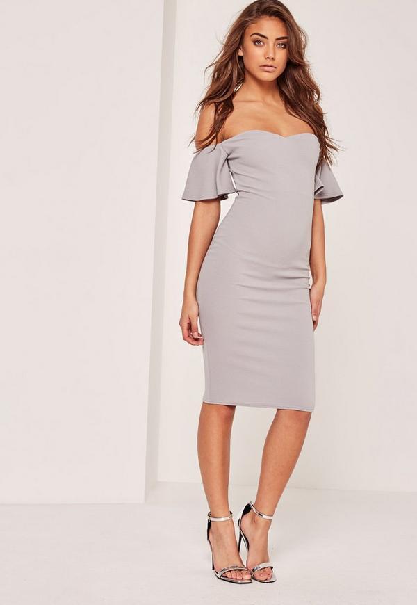 Petite Bardot Bodycon Midi Dress Grey