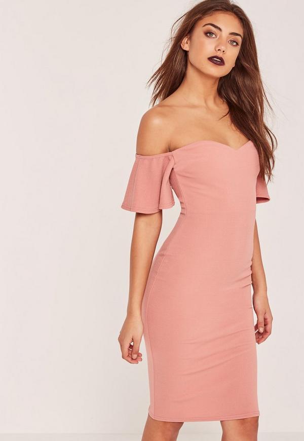 Petite Bardot Bodycon Midi Dress Pink