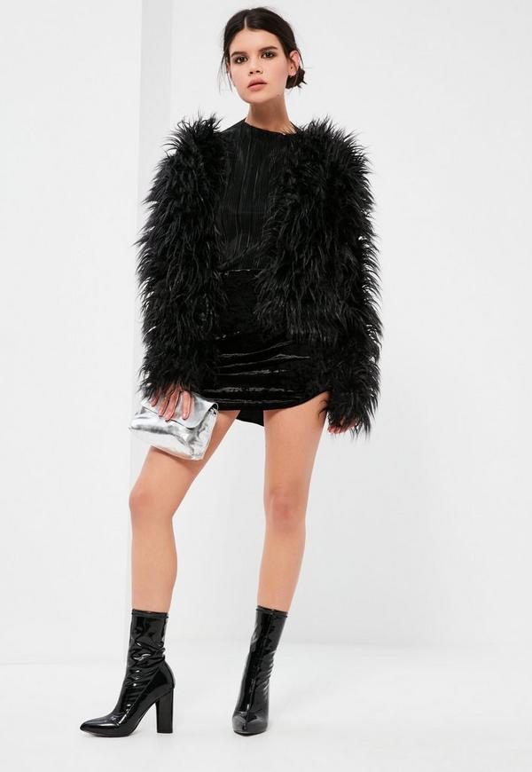 167e38542d Petite Black Crushed Velvet Curve Hem Mini Skirt   Missguided Australia