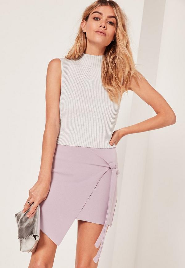 Petite Crepe Tie Front Wrap Mini Skirt Lilac