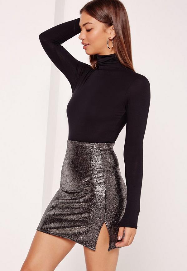 Petite Metallic Double Split Mini Skirt Silver