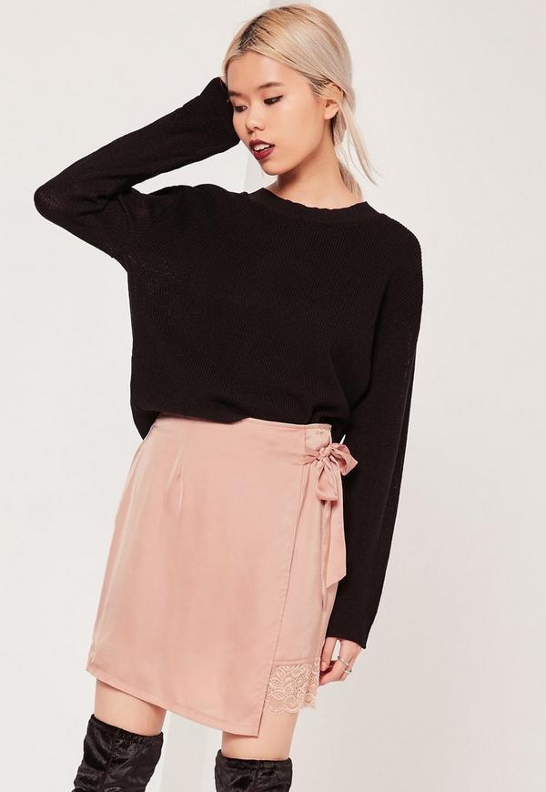 Pink Petite Satin Wrap Asymmetric Lace Hem Mini Skirt