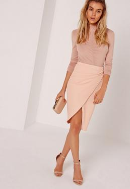 Petite Asym Ruched Side Midi Skirt Nude