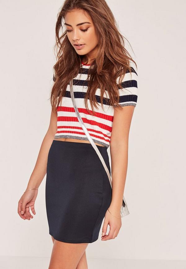 Petite Scuba Mini Skirt Navy