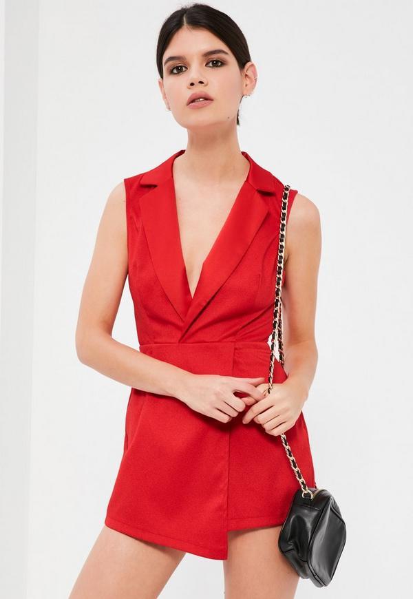 Petite Red Sleeveless Tuxedo Playsuit