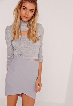 Petite Grey Asymmetric Bandage Mini Skirt