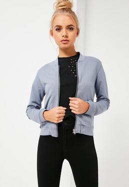 Petite Grey Jersey Bomber Jacket