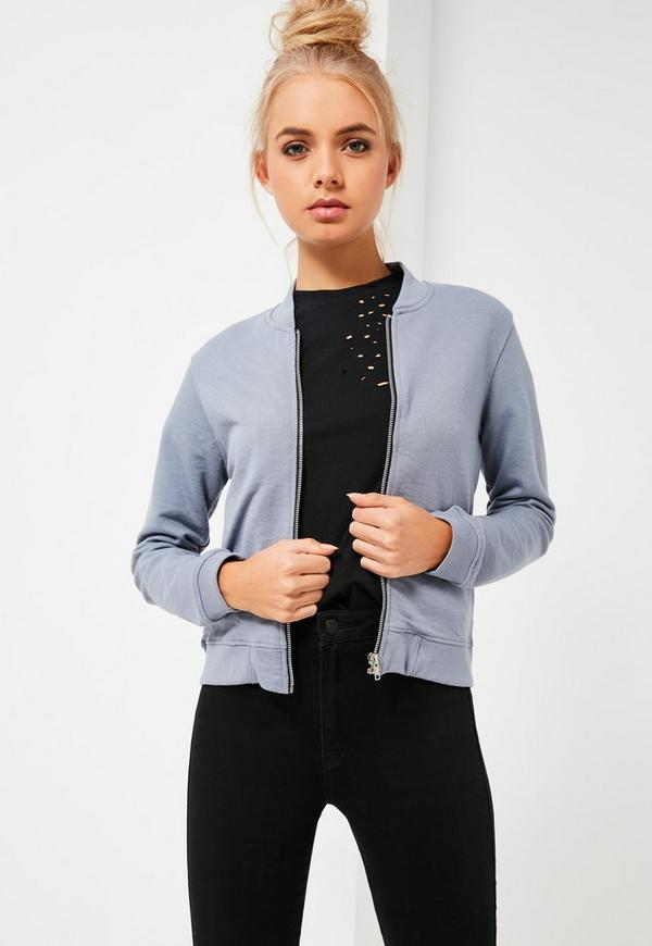 Petite Grey Jersey Bomber Jacket | Missguided