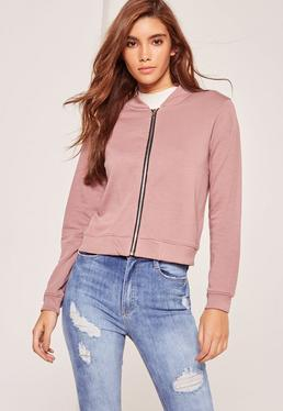 Petite Pink Jersey Bomber Jacket