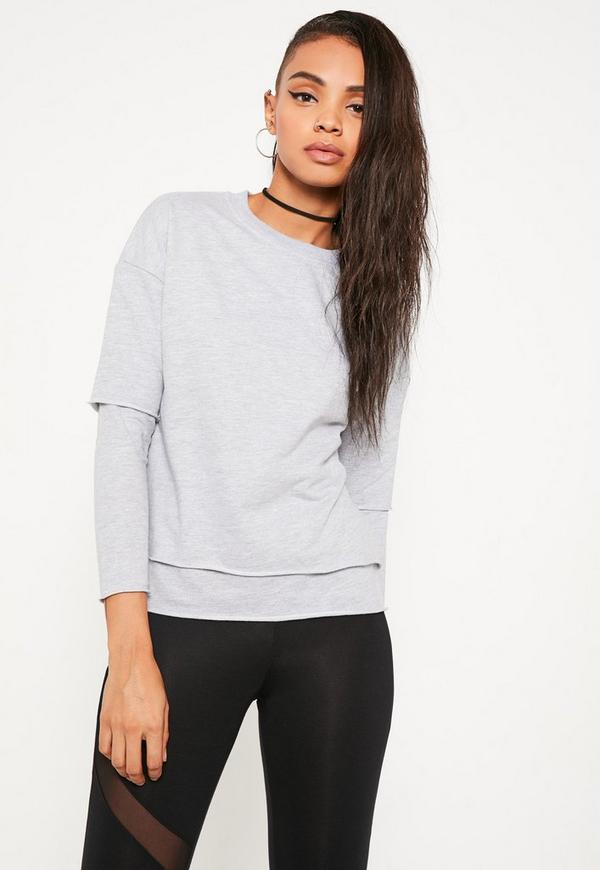 Petite Grey Double Layer Raw Edge Jumper
