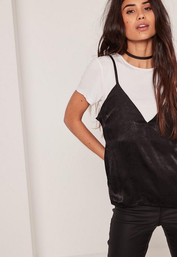 Black Petite Satin Overlay T-Shirt