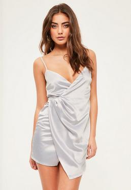 Petite Exclusive Grey Satin Wrap Mini Dress