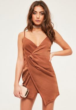 Petite Exclusive Brown Satin Wrap Mini Dress