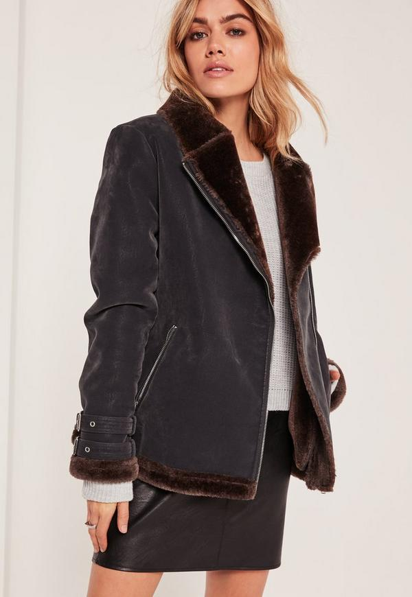 Petite Black Faux Fur Lined Pilot Jacket | Missguided
