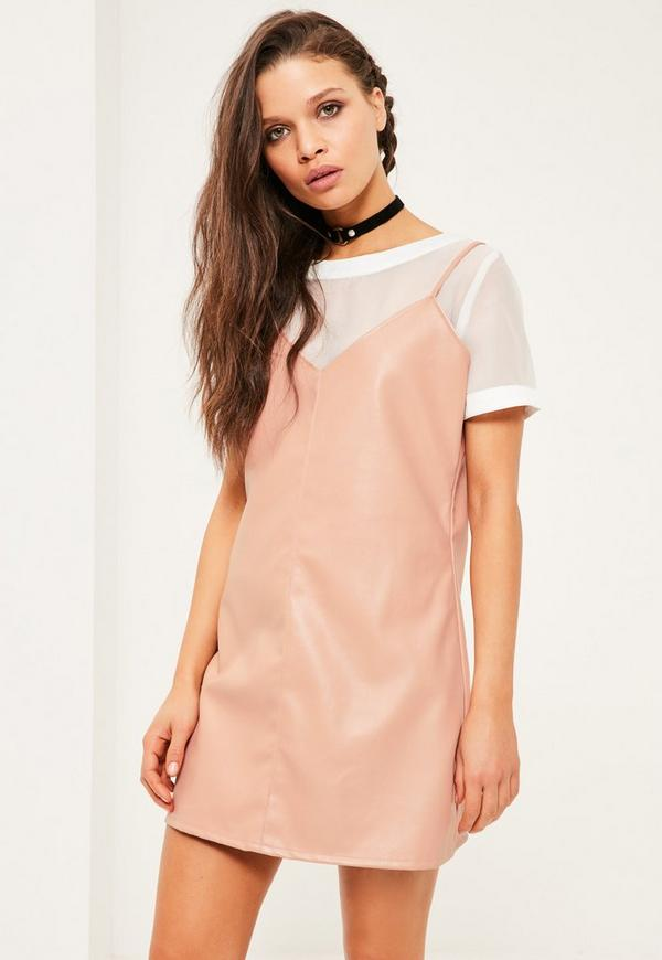 Petite Nude Faux Leather Cami Overlay Dress