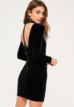 Petite Exclusive Black Tab Detail Velvet Dress