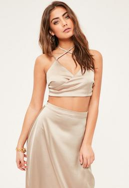 Petite Exclusive Beige Satin Wrap Crop Top