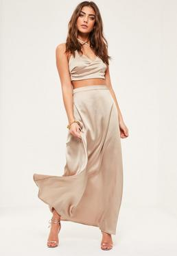 Petite Exclusive Beige Satin Maxi Skirt