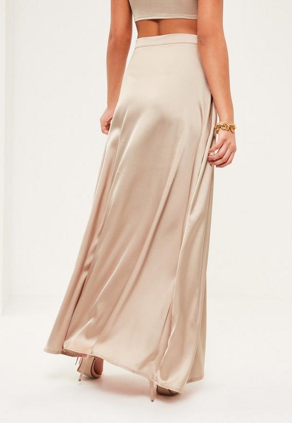 Petite Exclusive Beige Satin Maxi Skirt Missguided