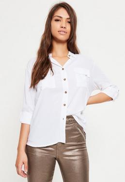 Petite White Pocket Front Shirt