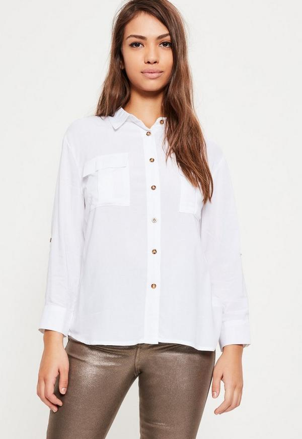 Petite White Pocket Front Shirt Missguided