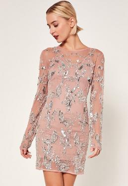 Petite Exclusive Premium Pink Embellished Mesh Dress