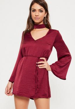 Burgundowa ekskluzywna satynowa rozkloszowana sukienka z chokerem petite