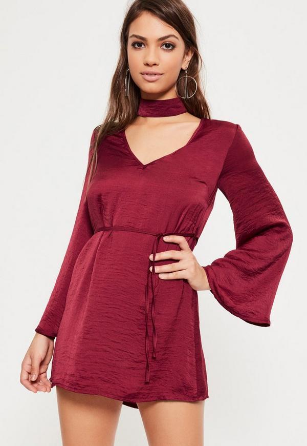Petite Burgundy Hammered Satin Choker Neck Dress
