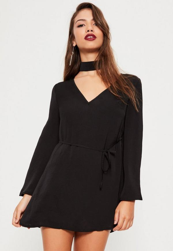 Petite Black Hammered Satin Choker Neck Dress