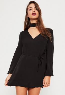 Petite Exclusive Black Hammered Satin Choker Neck Dress
