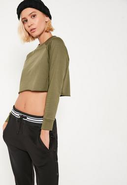 Petite Khaki Raglan Crop Sweater