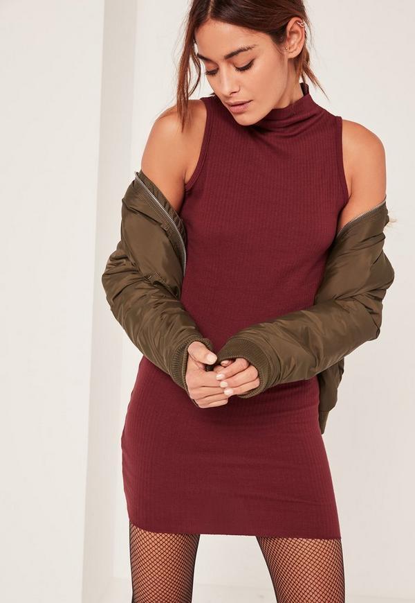 Burgundy Petite High Neck Ribbed Mini Dress
