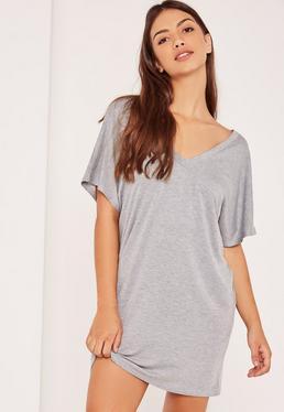 Grey Petite Wide Neck T-Shirt Dress