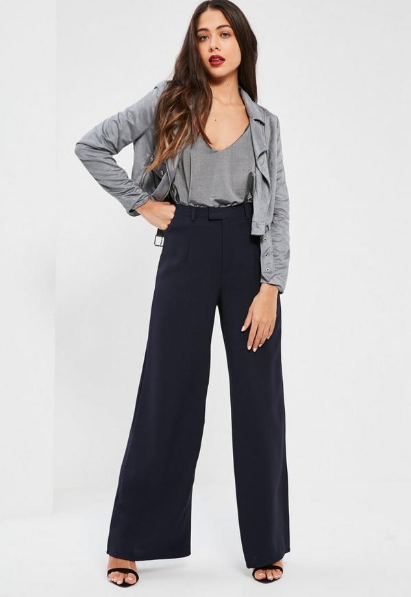 Pants in a navy hue with scarf print, wide leg style and satin finish.