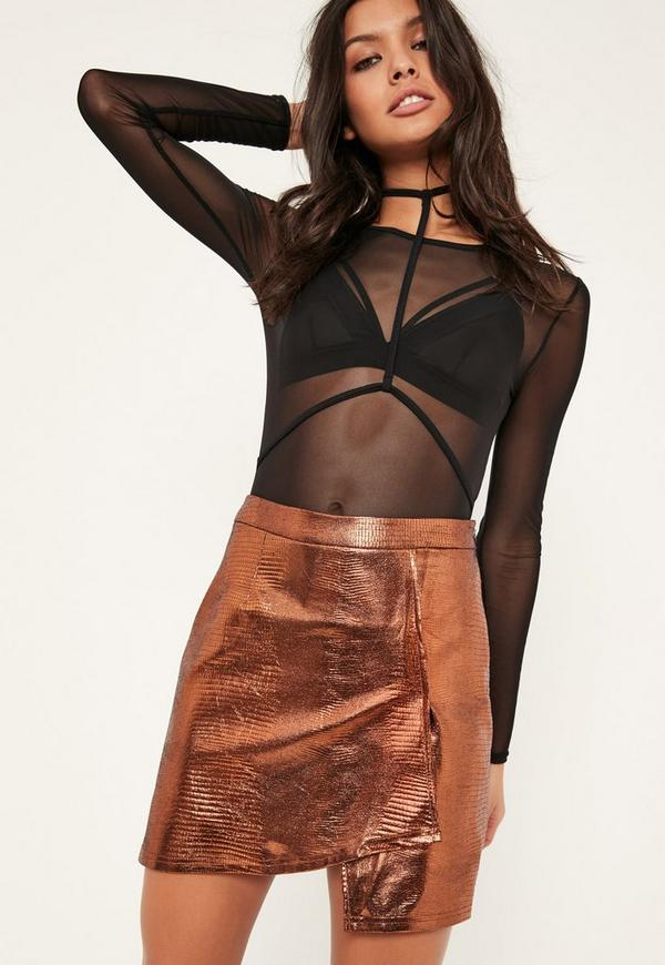Petite Exclusive Bronze Faux Leather Wrap Skirt