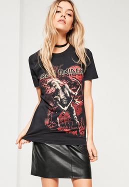 Petite Black Iron Maiden Slogan T-Shirt
