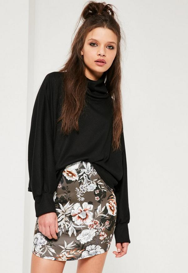 Petite Exclusive Grey Scuba Floral Print Curve Hem Skirt