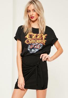 Petite Exclusive Black Jersey Tie Side Mini Skirt