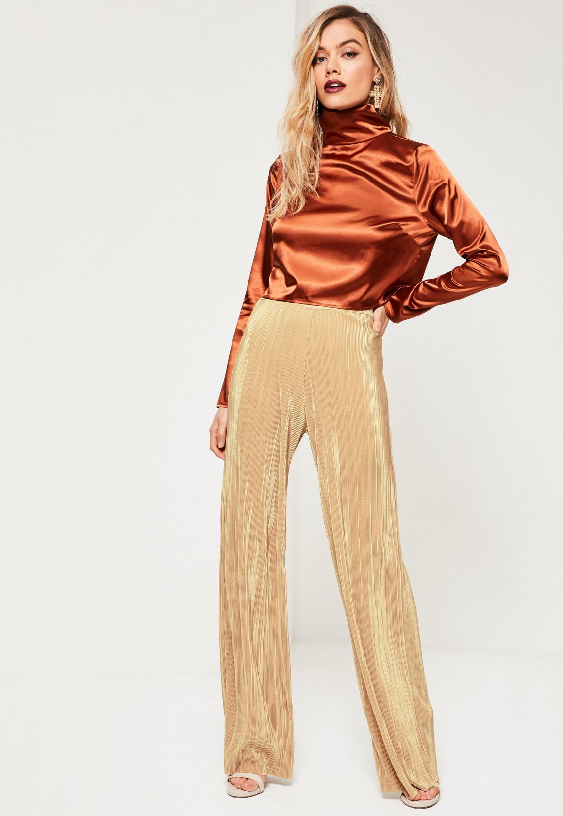 Petite Exclusive Gold Pleated Wide Leg Pants | Missguided