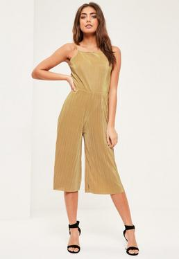 Petite Exclusive Gold Pleated Jumpsuit