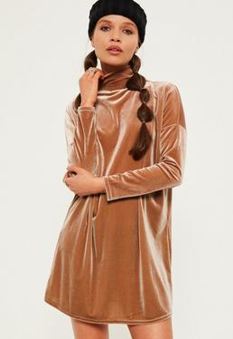 Petite Exclusive Brown Velvet High Neck Oversized Dress