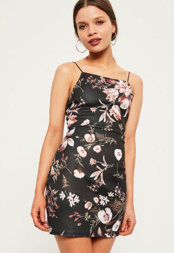 Petite Exclusive Black Scuba Floral Print Cami Dress