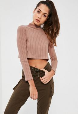 Petite Exclusive Pink Ribbed High Neck Crop Top