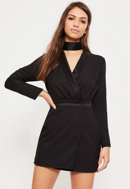 Petite Exclusive Black Tuxedo Wrap Front Mini Dress