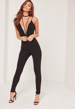 Petite Black Crepe Harness Strappy Plunge Jumpsuit