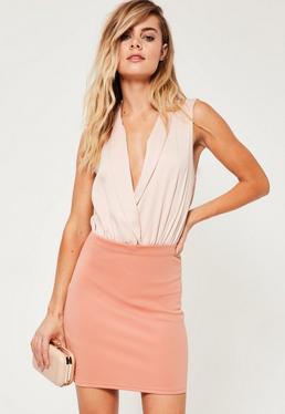 Petite Pink Scuba Mini Skirt