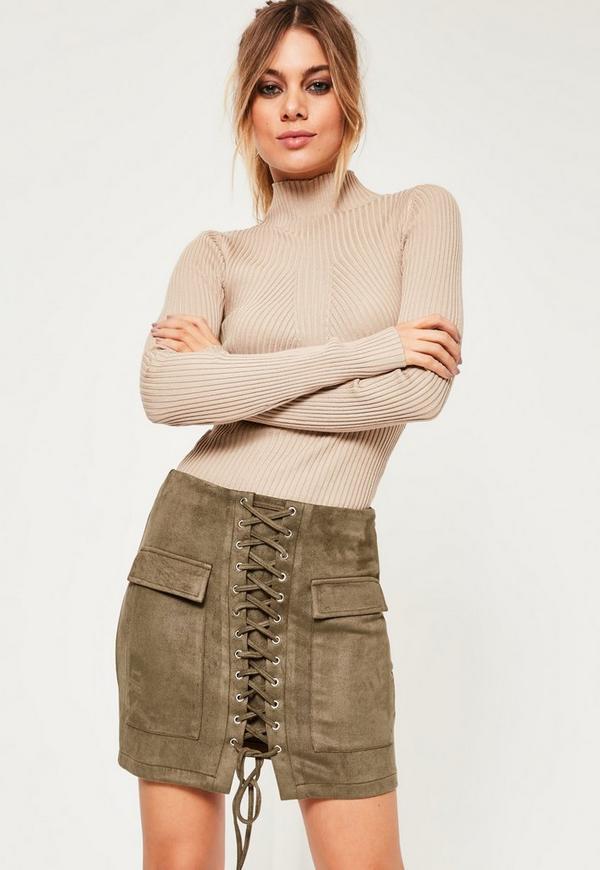Petite Faux Khaki Suede Lace Up Mini Skirt