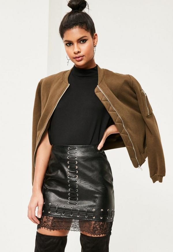 Petite Black Lace Hem Faux Leather Mini Skirt
