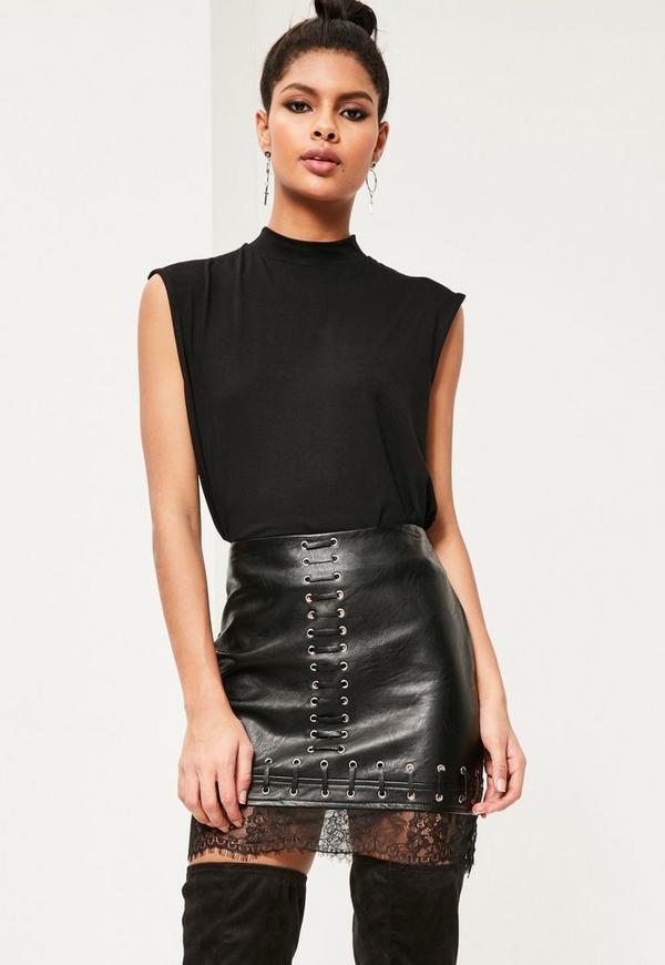 Petite Black Lace Hem Faux Leather Mini Skirt   Missguided