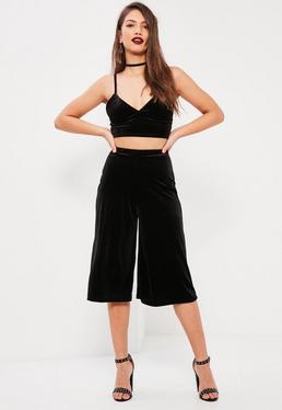Petite Exclusive Black Velvet Culottes